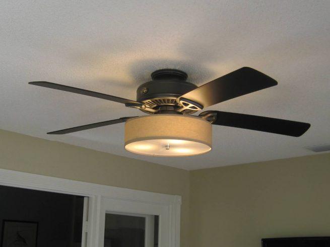 Low Profile Linen Drum Shade Light Kit For Ceiling Fans