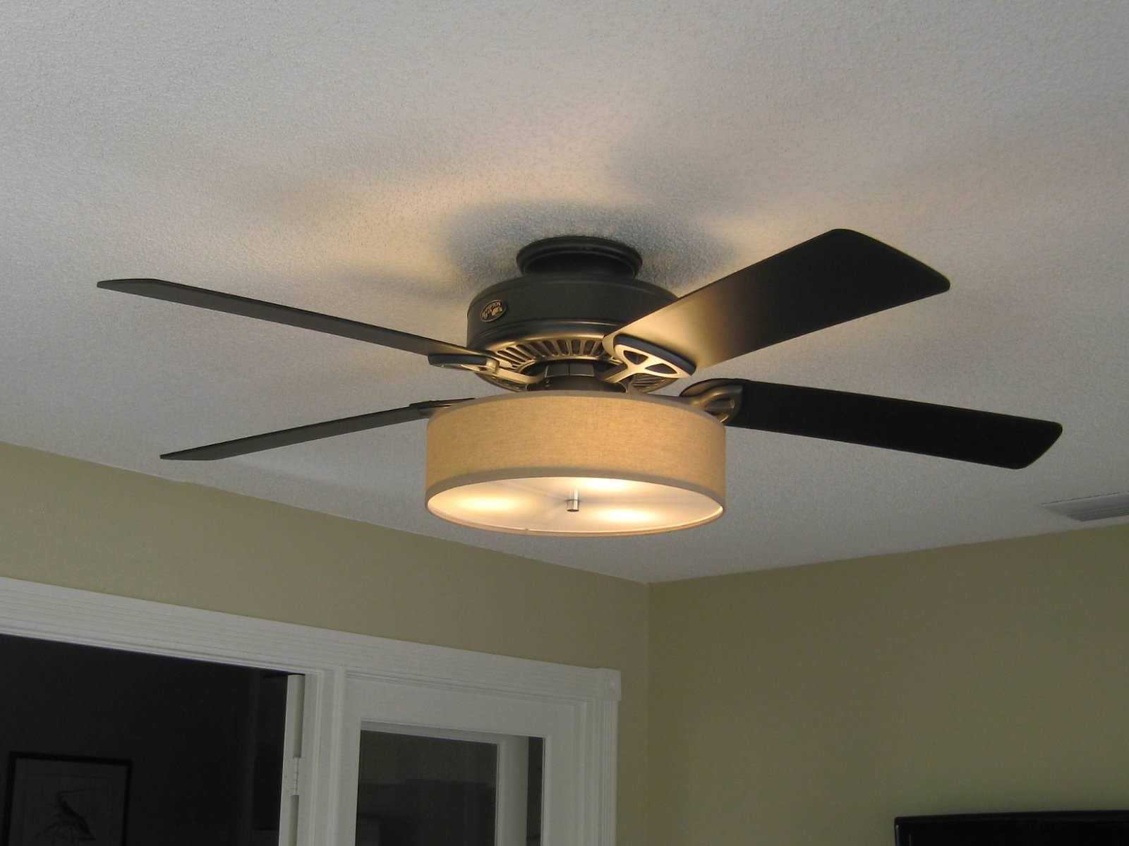 Ceiling Fans With Lights : Low profile linen drum shade light kit for ceiling fan s