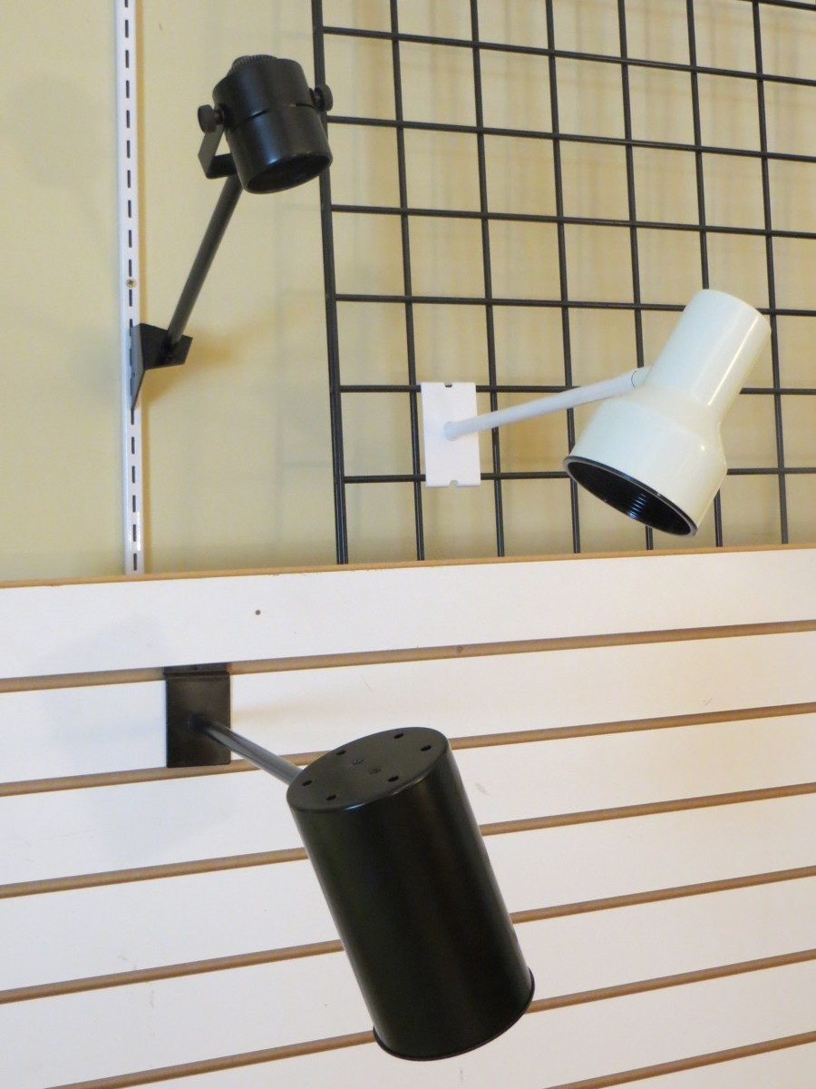 Retail Display Lighting For Slatwall, Gridwall, Slotted Standard, and Wall Mount