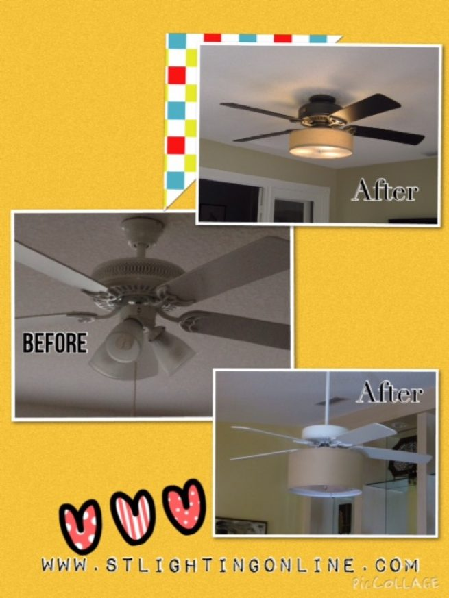 Ceiling Fan Before and After Light Kit